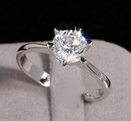 anel solitário feminino compromisso prata 925.cód:00888