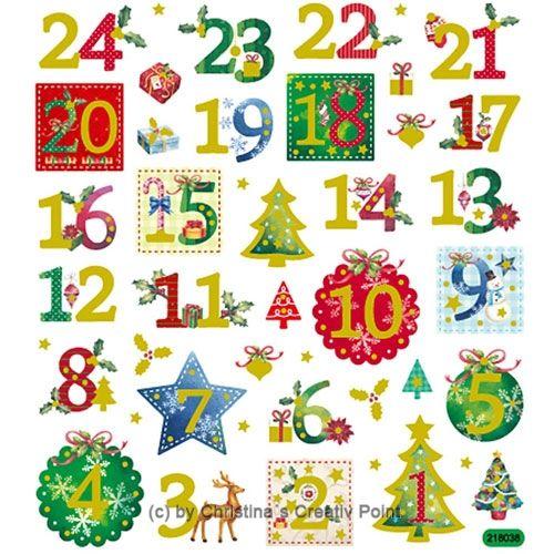 Sticker Kalenderzahlen Adventskalender Metallic