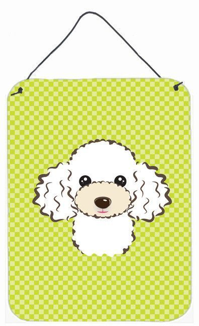 Checkerboard Lime Green White Poodle Wall or Door Hanging Prints BB1319DS1216