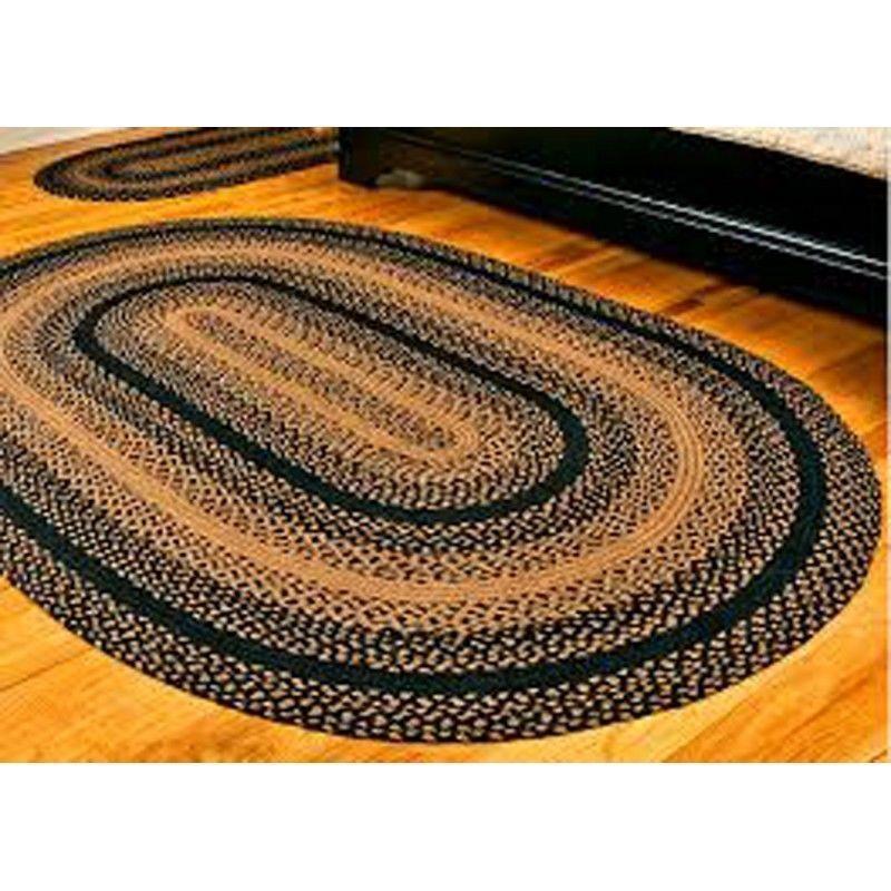 Primitive Country Jute Braided Area Rugs Ebony Black Tan Farmhouse Floor Rug New Oval Braided Rugs Braided Area Rugs Primitive Decorating Country
