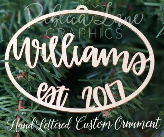 Hand lettered Personalized Christmas Ornament Mr  Mrs Last