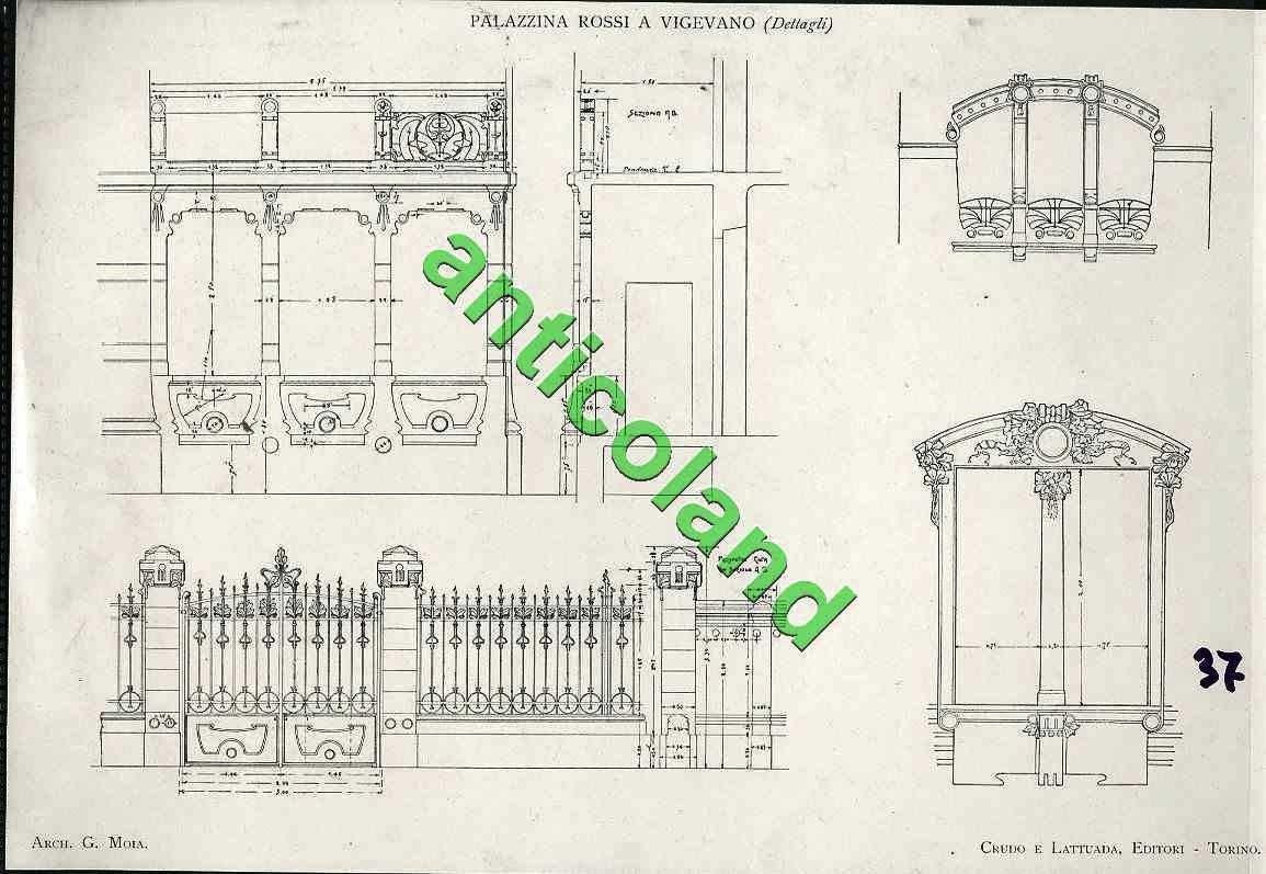 Stampa Fotografica primi 900 22x34 palazzina Rossi a Vigevano dettagli | eBay