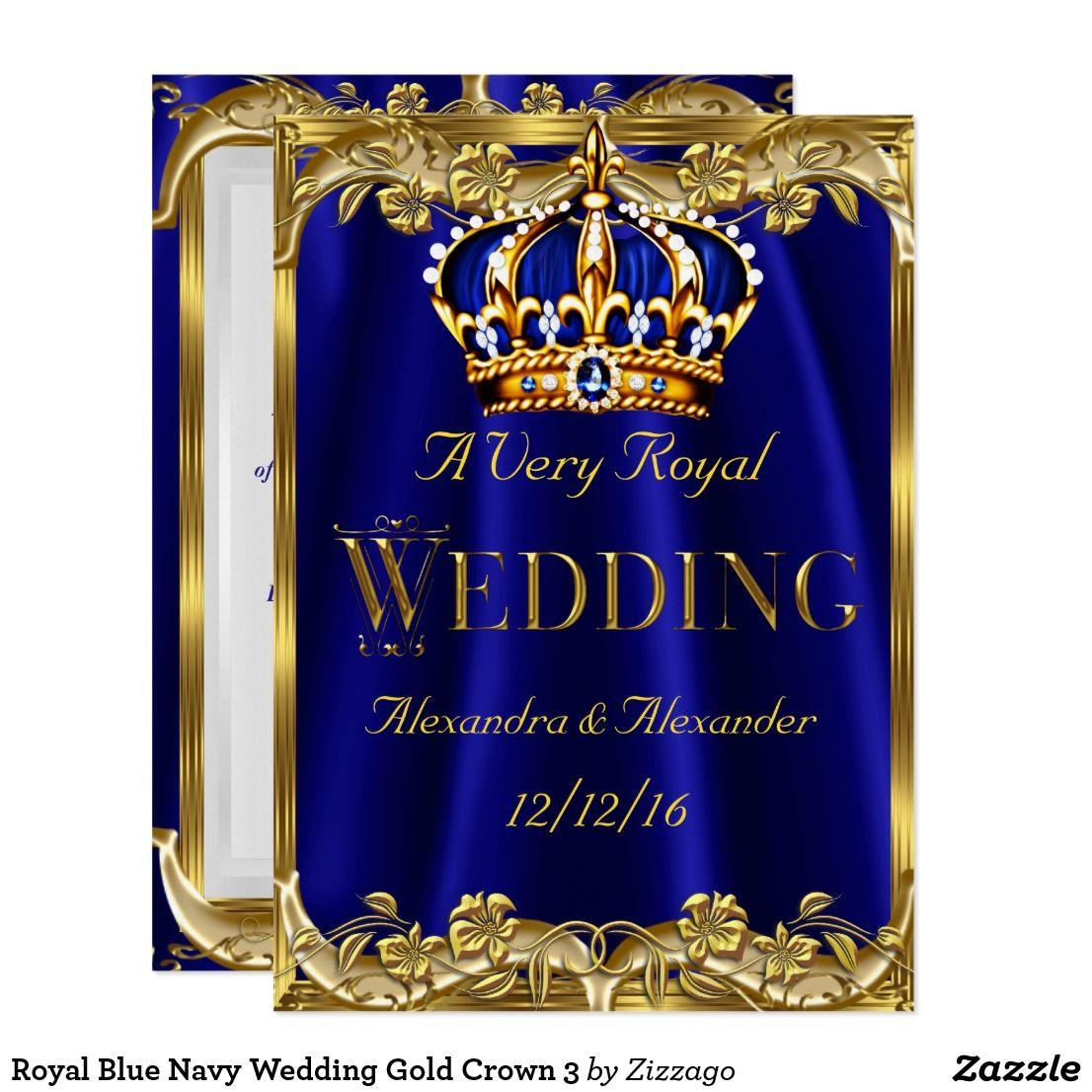 Royal blue navy wedding gold crown card navy weddings gold