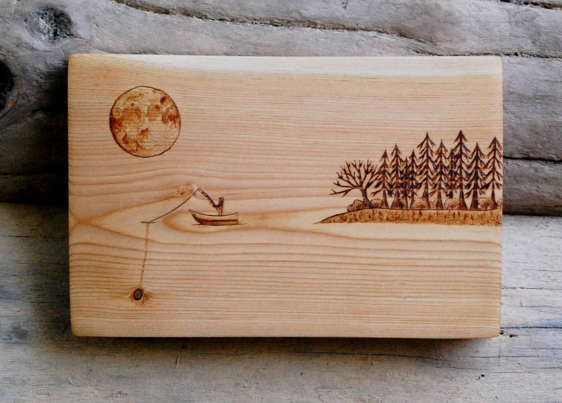 Fishing By The Forest Woodburning On Cedar Wood Burning Wood Art Forest