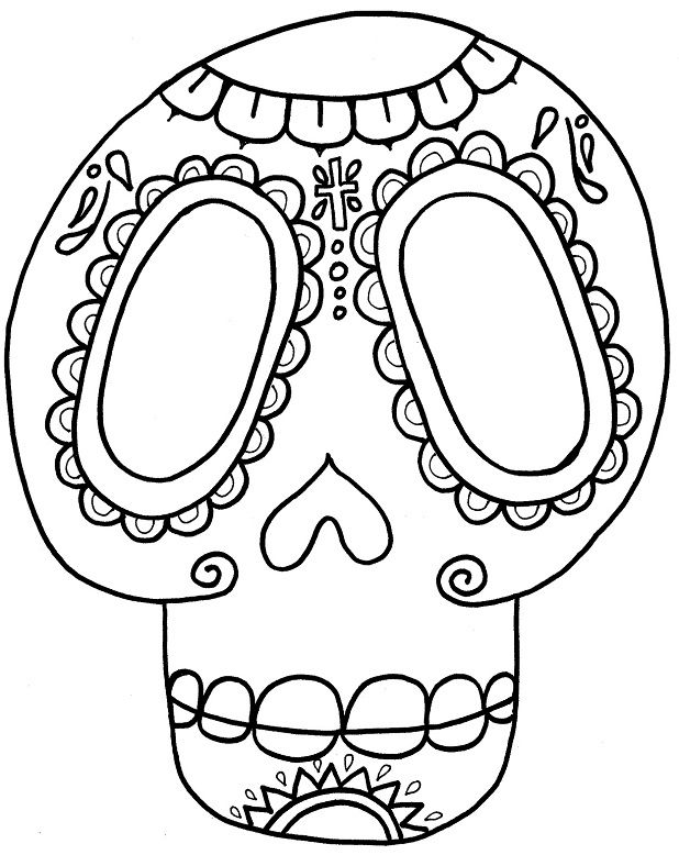 Day Of The Dead Mask With Heart Design Coloring Page Skull