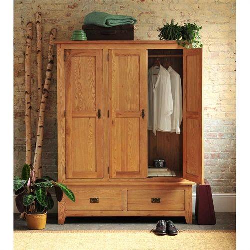 Oakland 3 Door Triple Wardrobe K232 With Free Delivery The Cotswold Company Nrotr Oak Wardrobe Wardrobe Furniture Oak Bedroom Furniture