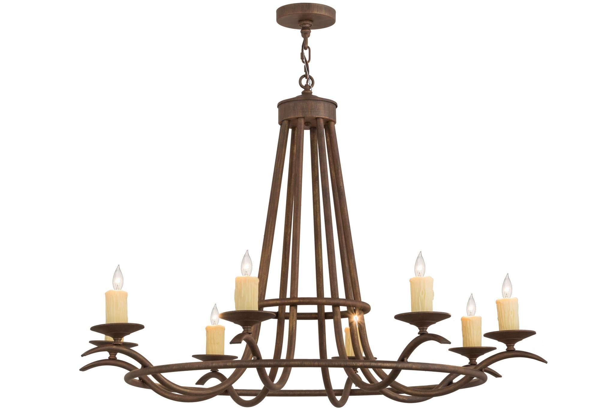 48 Inch W Octavia 8 Lt Chandelier. 48 Inch W Octavia 8 Lt ChandelierAdd graceful detail to any interior d?cor with thiswell balanced lighting design that provides softambient illumination. Eight Ivory faux candlelights areperched on bobeches that are embraced by an elegantframe with a richly hued Cortez Gold finish. custom crafted in our manufacturing facility in the USA, this chandelier is perfect for creating a welcomingenvironment in any space. Choose a custom color...