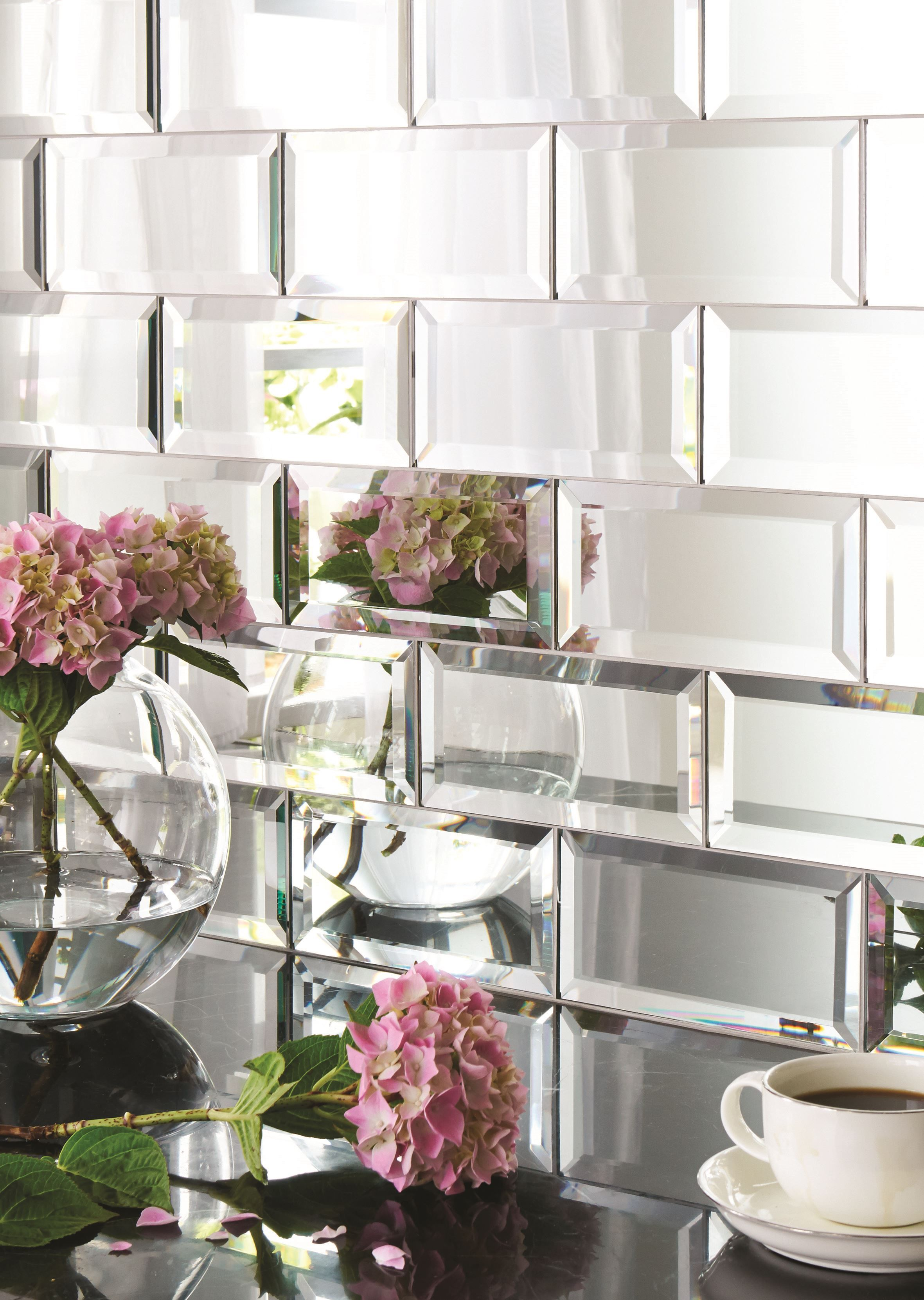 Mirror Tile Backsplash Kitchen Hexagonal Silver Mirrored Bevelled Wall Tiles House Kitchen