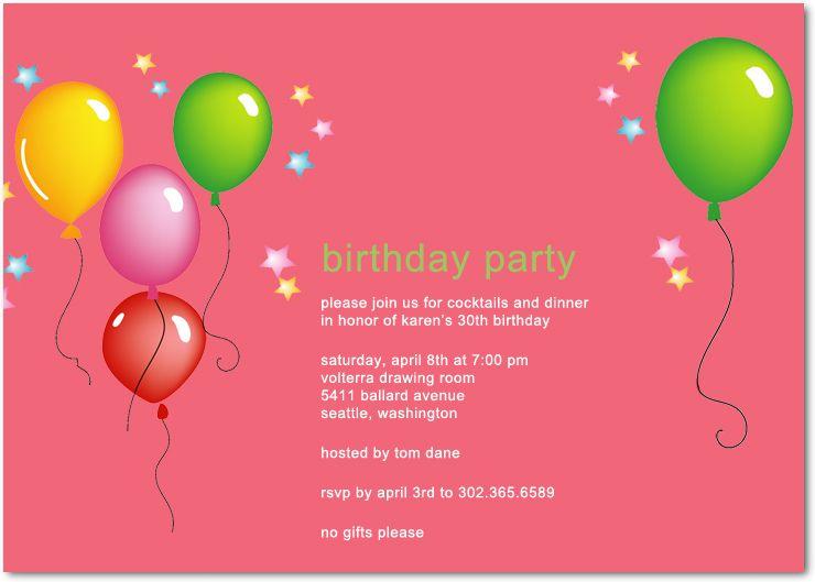 birthday party invitations birthday