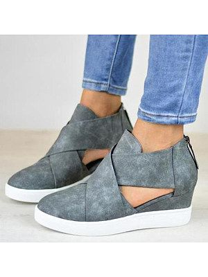 Plain Velvet Round Toe Casual Ankle Ankle Boots in 2020