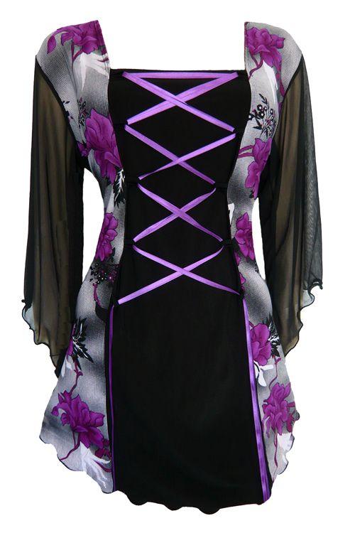 Dark Star Gothic Black and Purple Buckle Corset Dress  M L XL 1X 2X
