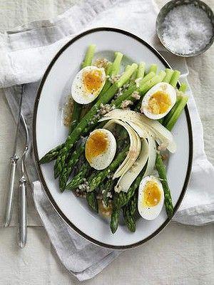 Salad of asparagus and soft-boiled-egg vinaigrette.