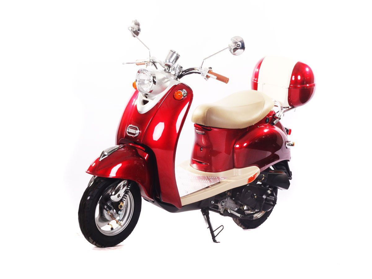 "SCO003 50cc Scooter Automatic Transmission, Front Disc/Drum Brakes, 10"" Wheels, Metallic Paint, Aluminum Foot Rest, Rear Trunk $700.00"