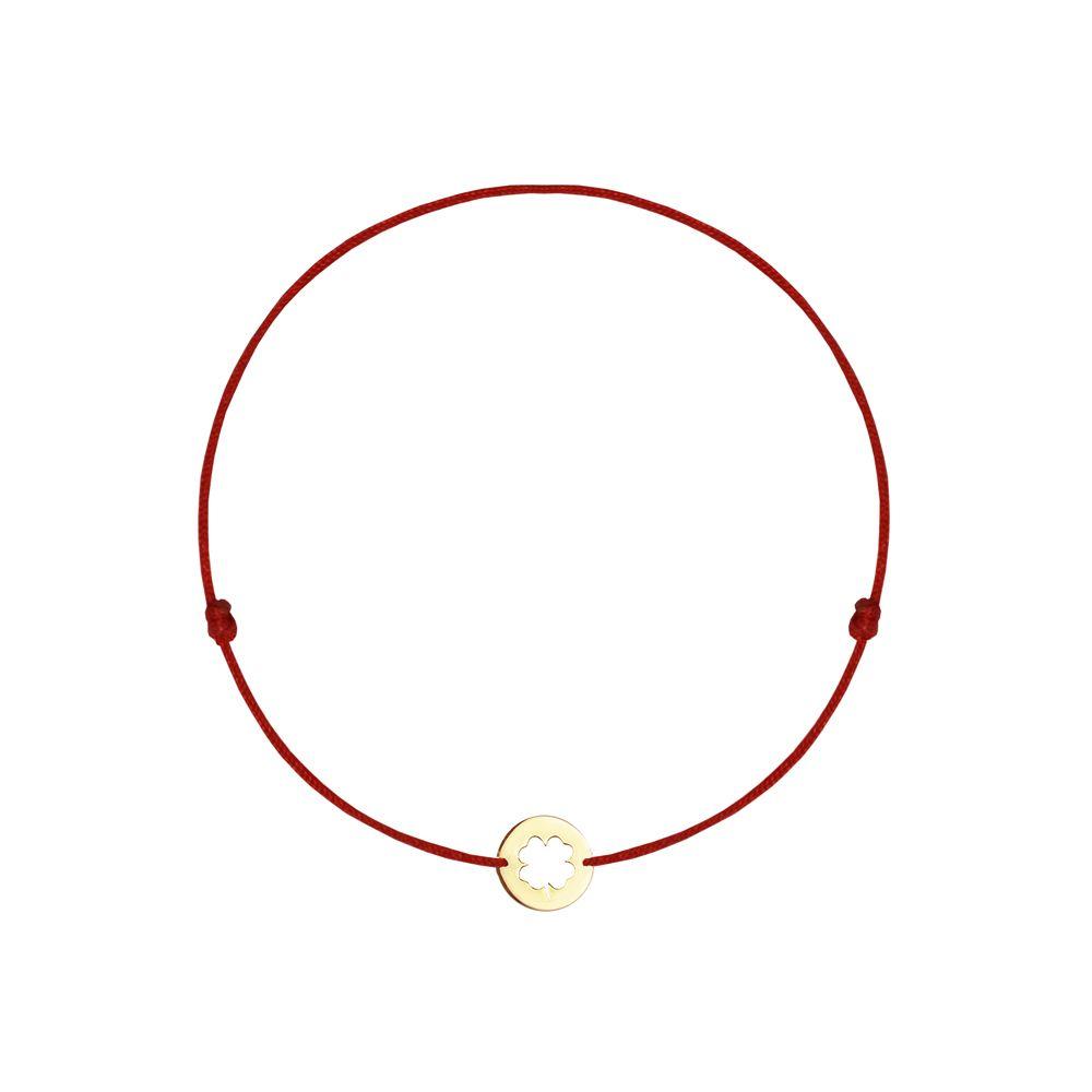 14-karat yellow gold baby clover on red string