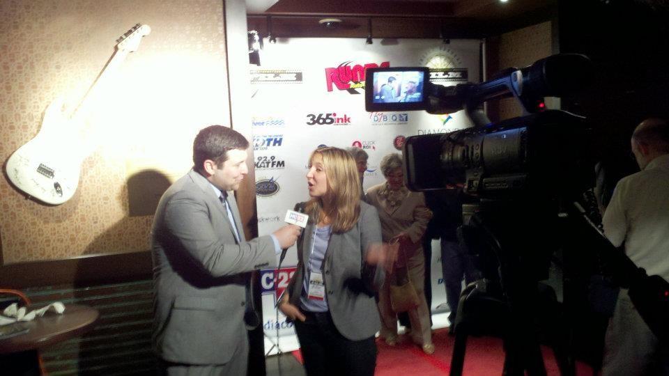 Emily interviewed on the red carpet - Julien Dubuque International Film Festival