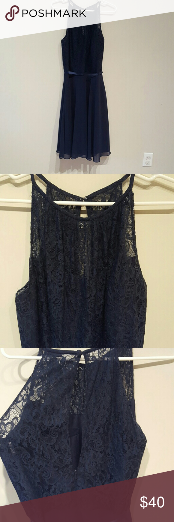 Navy Blue Dress Bridesmaids Dress Lace top, silky blue bottom. Navy blue underlay. Ties at back and has keyhole back with button. B2Jasmine Dresses Midi
