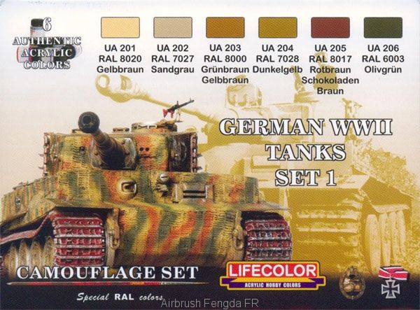 Série de peintures camouflages LifeColor CS01 GERMAN WWII TANKS SET1