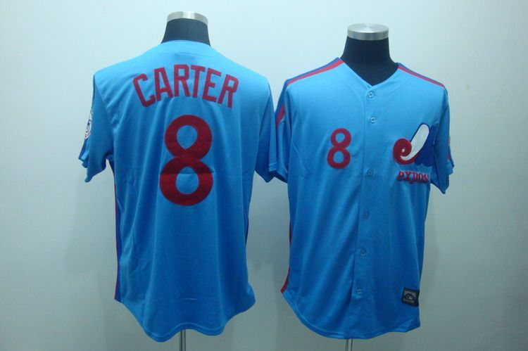 buy online 82a1b 8318d Mitchell and Ness Expos #8 Gary Carter Blue Embroidered ...