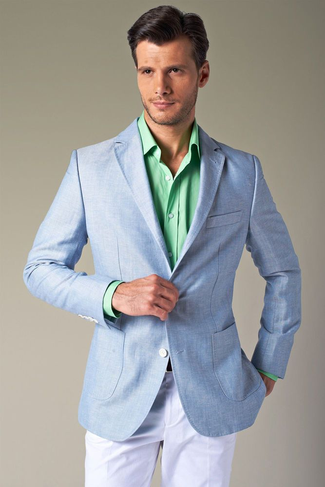 light blue blazer with green shirt. No green shirts please ...