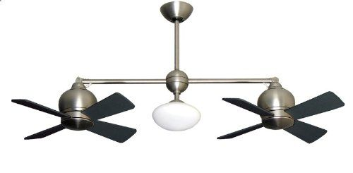 Metropolitan modern double ceiling fan in satin nickel with light metropolitan modern double ceiling fan in satin nickel with light remote gulf coast fans mozeypictures Image collections