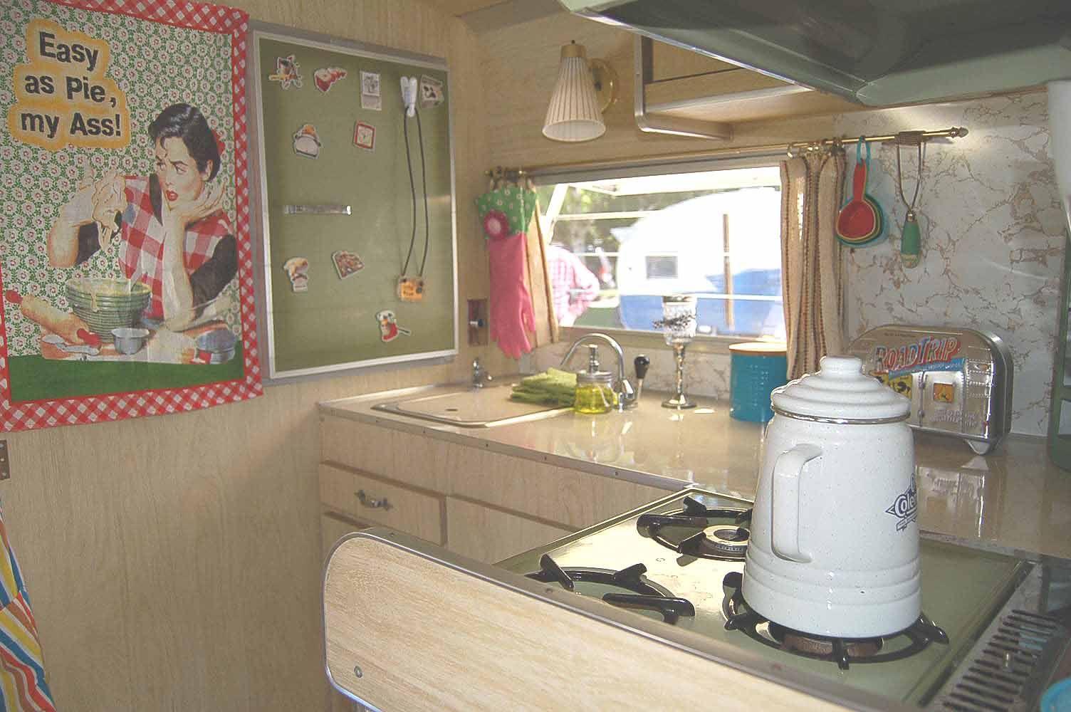 Vintage Shasta Travel Trailer Interiors Original White Washed Kitchen Cabinets In Vintage 1968