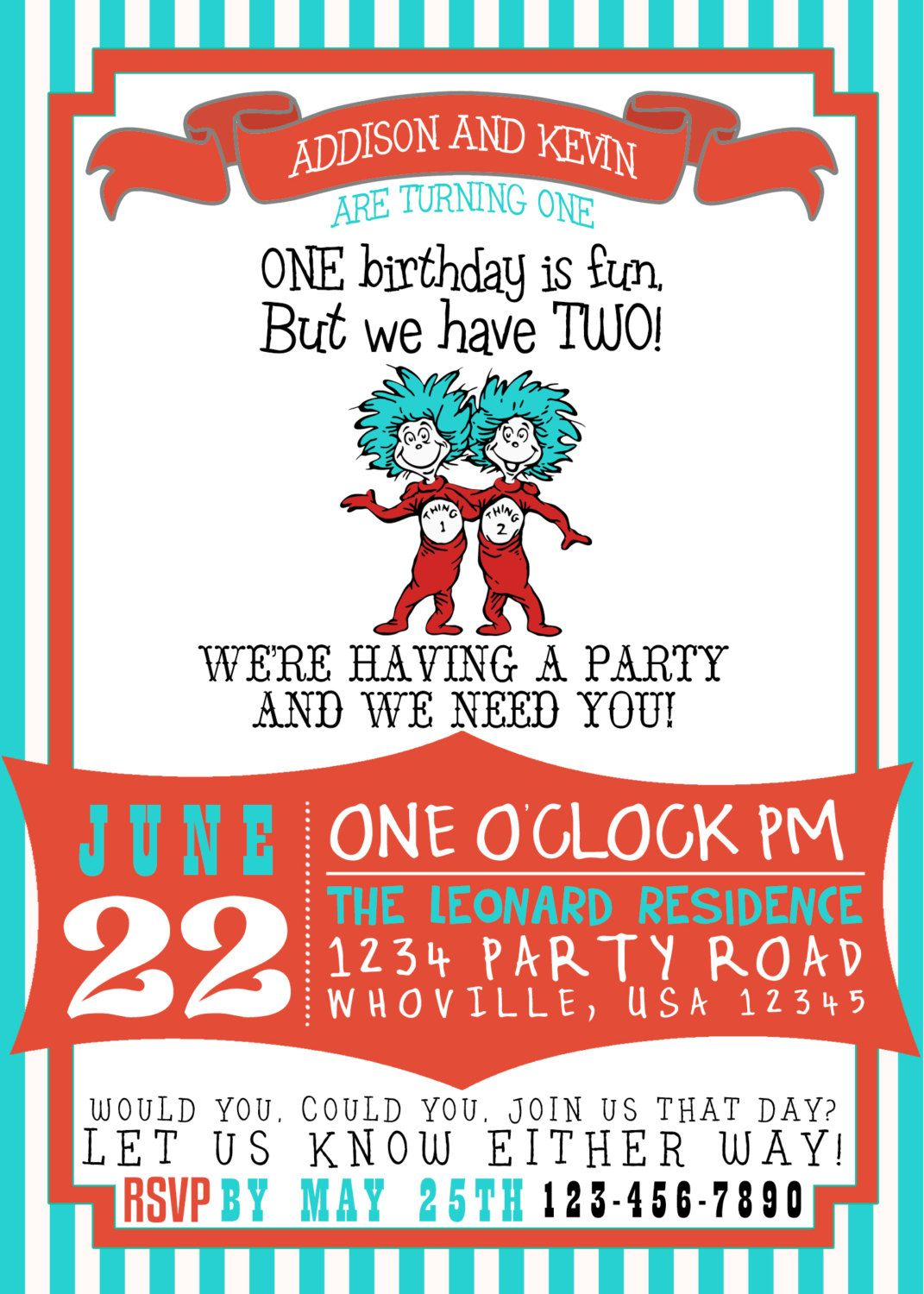 Dr Suess Thing 1 Thing 2 Birthday Invitation by GoodHueDesigns ...