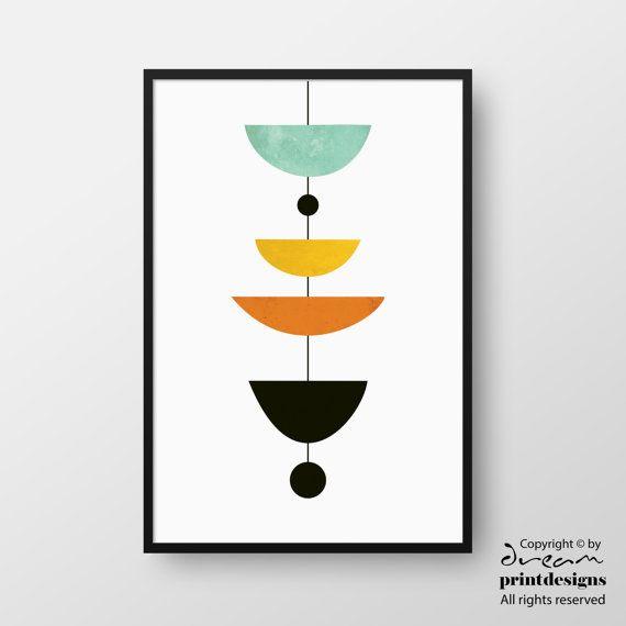 Mid Century Art Scandinavian Poster Modern Print Minimal Etsy In 2020 Geometric Art Printable Geometric Art Mid Century Art