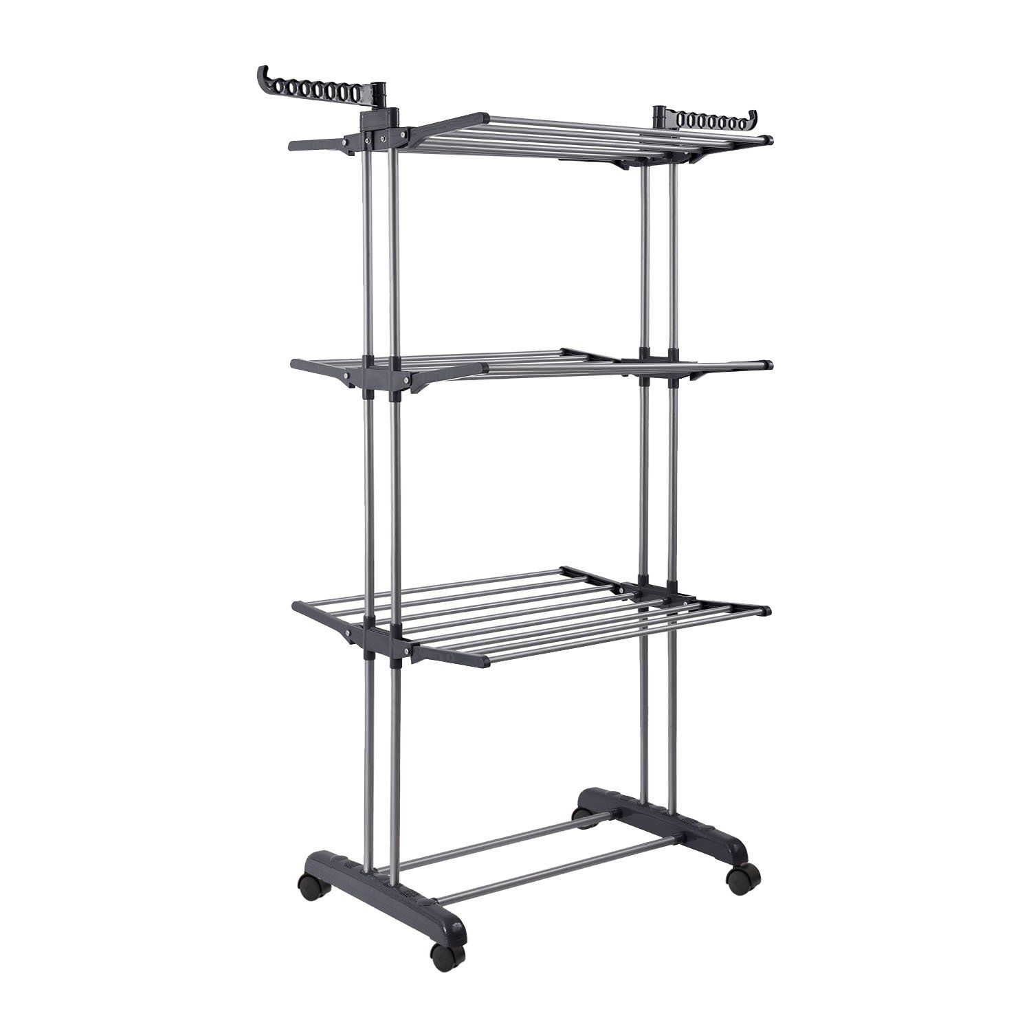 Jusdreen 3 Tier Rolling Clothes Drying Rack Clothes Garment Rack