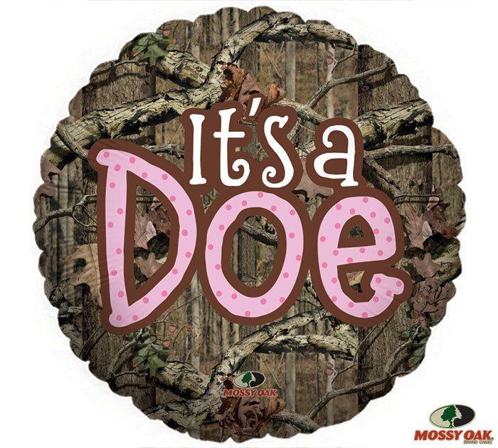 mossy oak  u0026quot it u0026 39 s a doe u0026quot  pink camo baby shower balloon