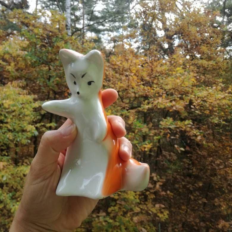 Home Decor Vintage fox Figurine Vintage Porcelain Figurine animal Figurine Cute fox sculpture 70s Soviet Figurine polonnoe