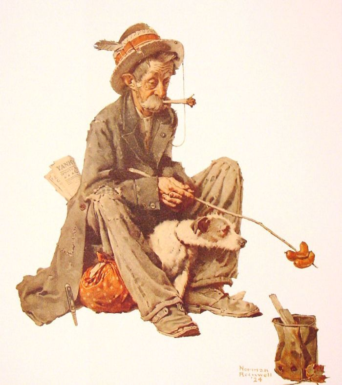 Hobo and Dog : Norman Rockwell : Art Scans : Scanopia
