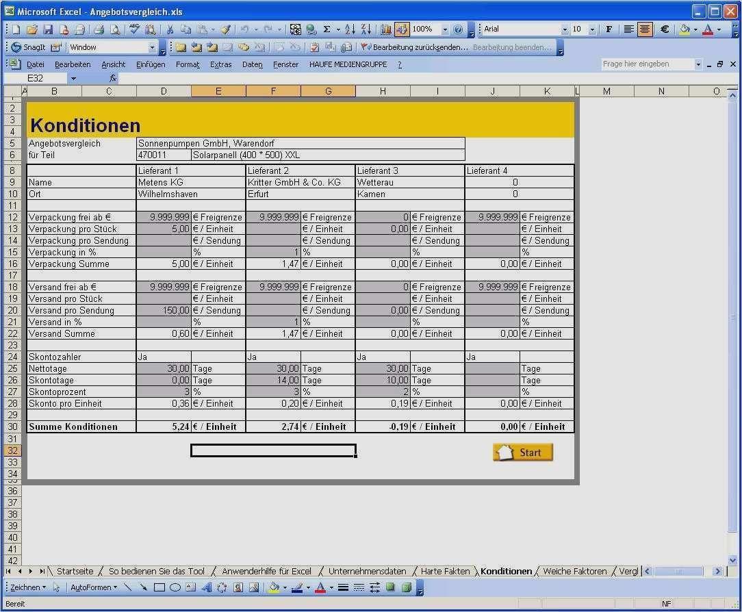 48 Schonste Angebotsvergleich Excel Vorlage