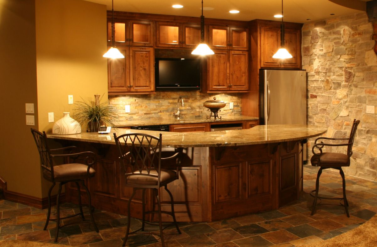 dazzling ideas finished basement floor plans. Interior  Lovable Basement Ideas With Classic Wooden Kitchen Cabinet Design Plus Outstanding Brown Bar Stool Precious for green basements and remodeling bars like the curved bar