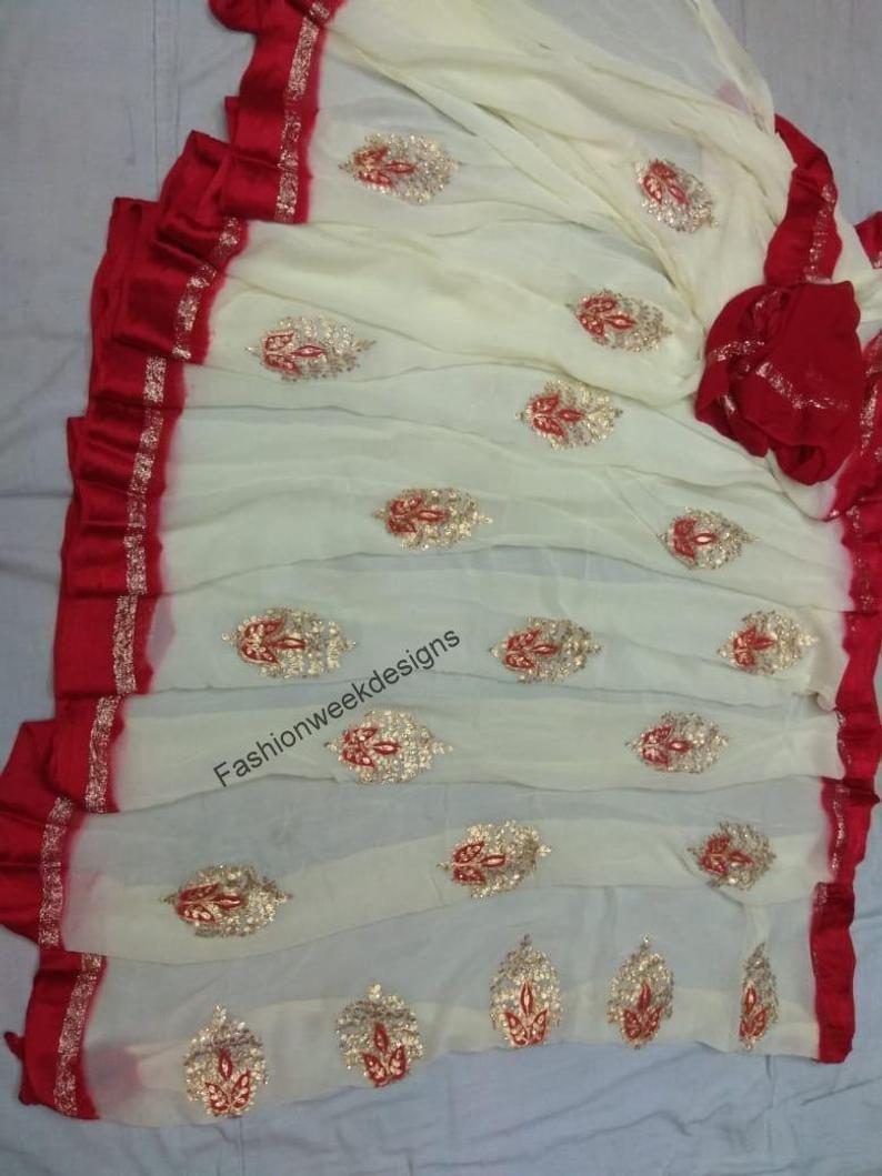 Indian Gotta patti wedding party wear chiffon saree blouse for women designer traditional ethnic sari with blouse