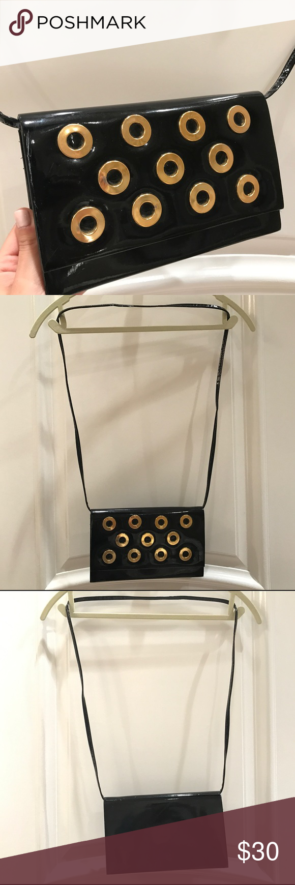 VINTAGE BLACK & GOLD Patent Leather Crossbody Bag Very cute and unique cross body purse .. vintage so please see detailed pics for minor signs of wear but still amazing condition. Let me know if you have questions :) *brand unknown- tagging Urban Outfitters for exposure!* Urban Outfitters Bags Crossbody Bags