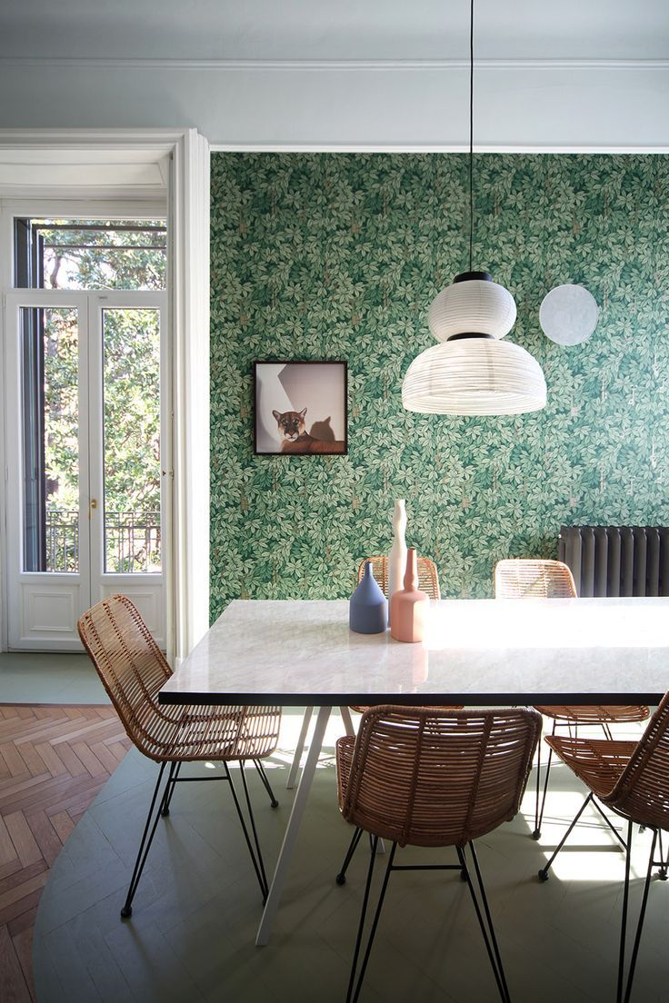 Cozy Dining Space: Cozy Dining Room With Green Retro Wallpaper