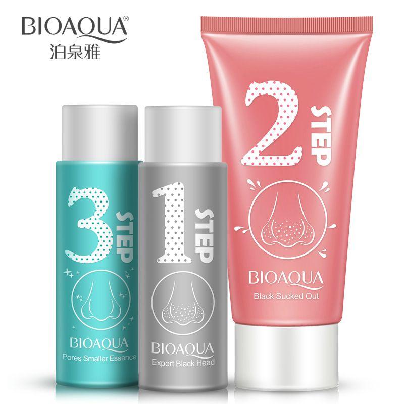 BIOAQUA naso di rimozione di comedone maschera facciale cura della pelle peeling trattamento di acne poro detergente pori restringenti testa nera 3 pz/set