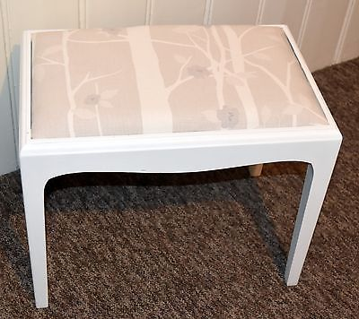 Stag Minstrel Dressing Stool Restored And Reupholstered In White