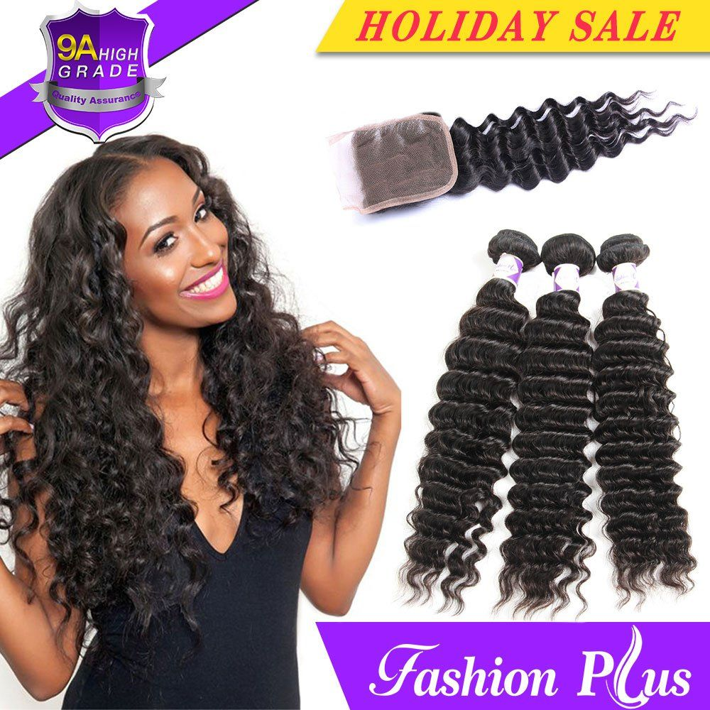 Human Hair Weaves Cheap Sale Queena Cheap Cambodian Deep Wave Bundles With Closure With By Hair Natural Color Deep Curly Human Hair Bundles With Closure Remy