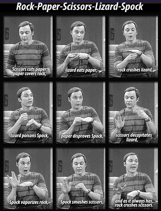 Sheldon explains Rock Paper Scissors Lizard Spock. It all makes sense now!