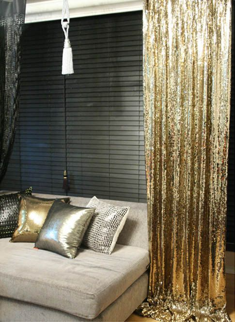 Order To Made Gold Sequins Beaded Curtains Drapery Panel Roon