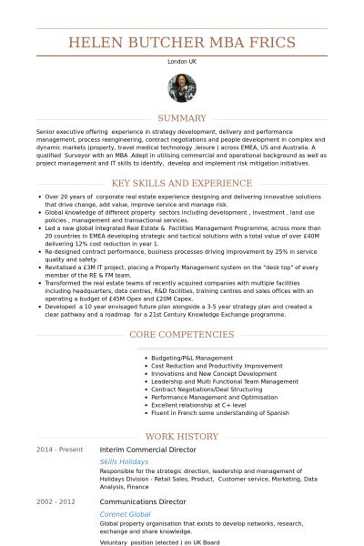 Interim Commercial Director Resume Example Resume Resume Examples Commercial