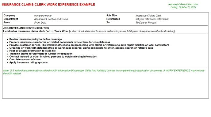 Insurance Claims Clerk Work Resume Sample - http://www.resumecareer ...