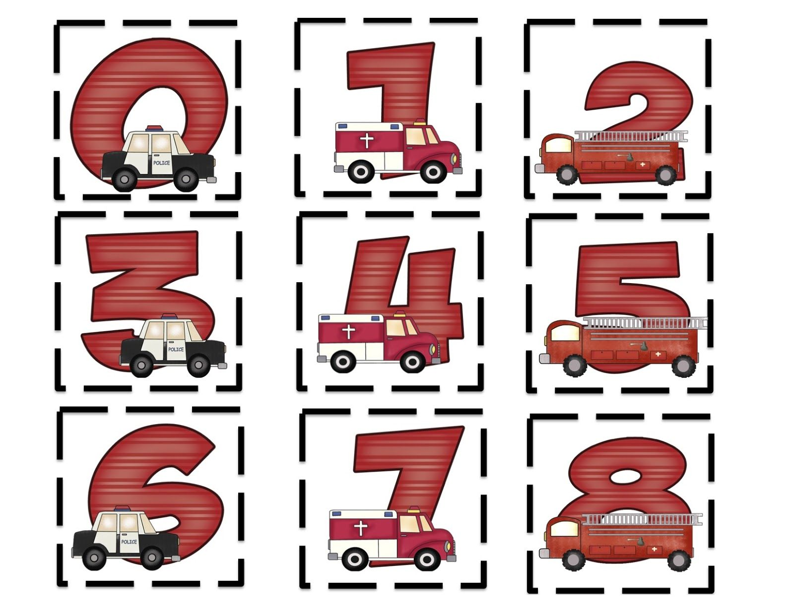 Emergency Vehicles Alphabet Amp Number Printable