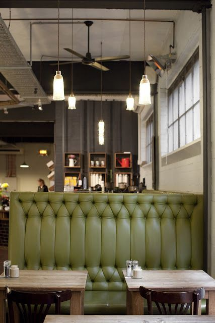 Beautiful Interesting Tufting // Pop Of Color Against Wood And Neutrals. Restaurant  BanquetteCafe ...