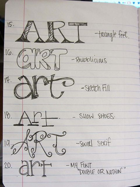 Lesson fonts lettering styles and handwriting