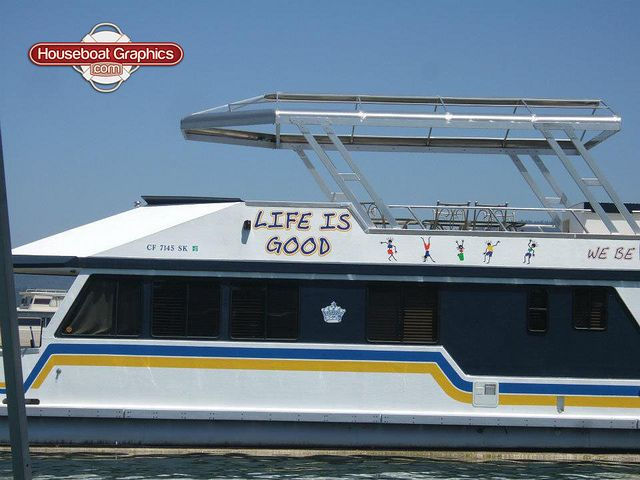Houseboatgraphicslifeisgoodboatnamedecals Graphics And Logos - Vinyl boat graphics decals
