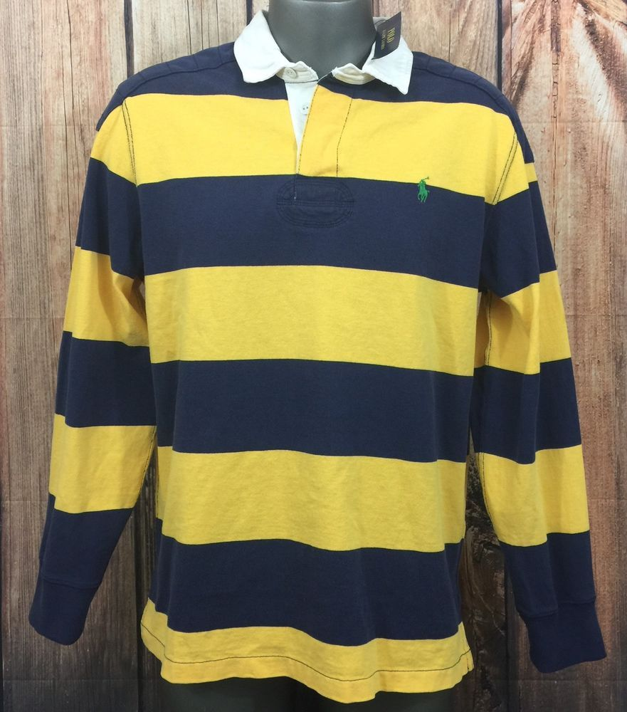 Polo Ralph Lauren Men's Large L/S Rugby Shirt Blue/Yellow Striped NWT MSRP  $98