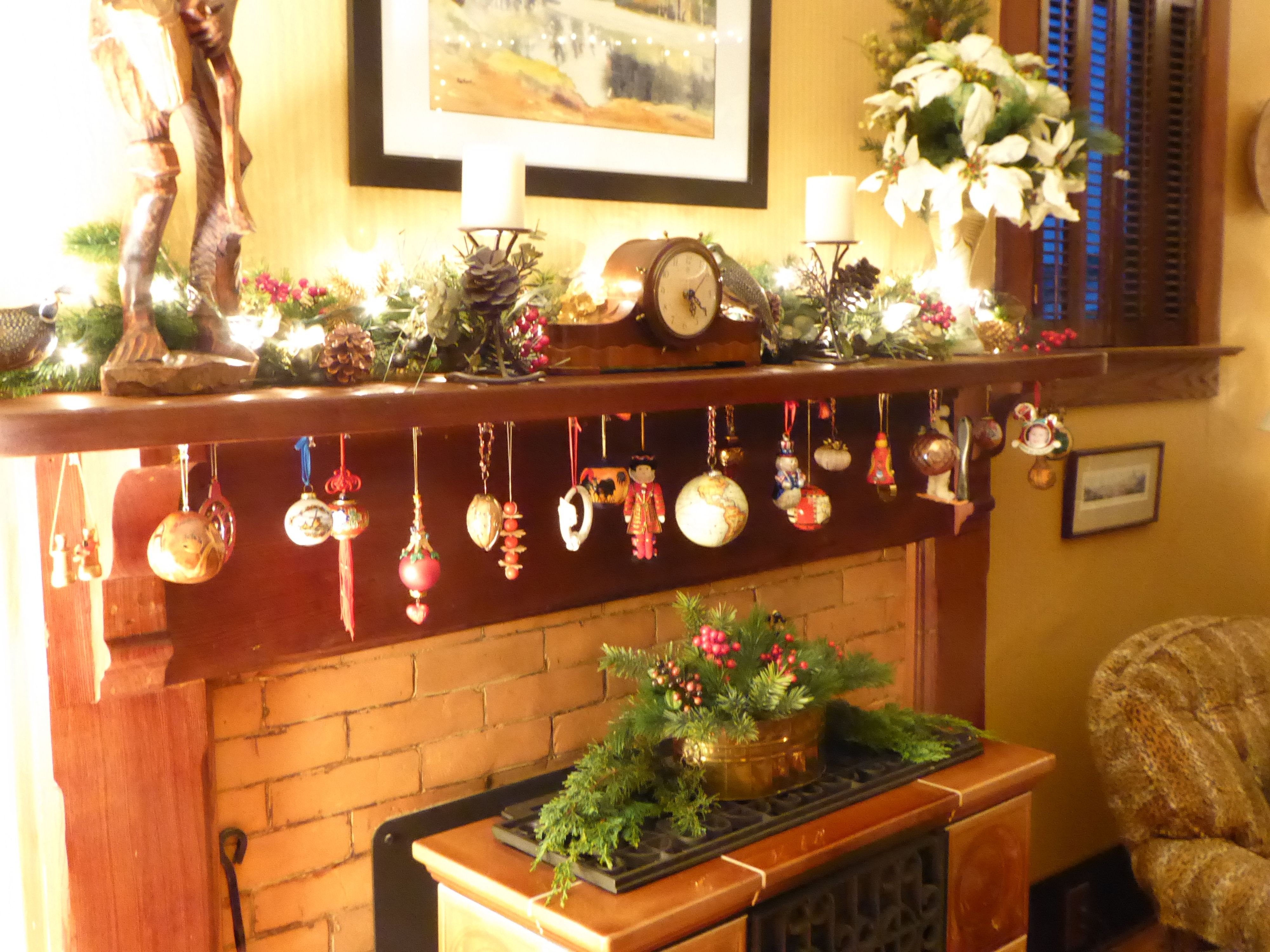 Even with no tree this year, we still enjoyed our favorite ornaments  hanging from the