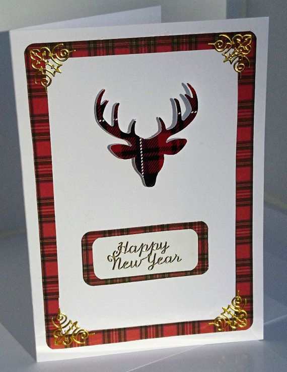 Scottish happy new year card tartan card red tartan stag head scottish happy new year card tartan card red by heartandsoul11 m4hsunfo